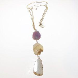 Vintage Elle Natural Quartz Pendent Necklace  3J36